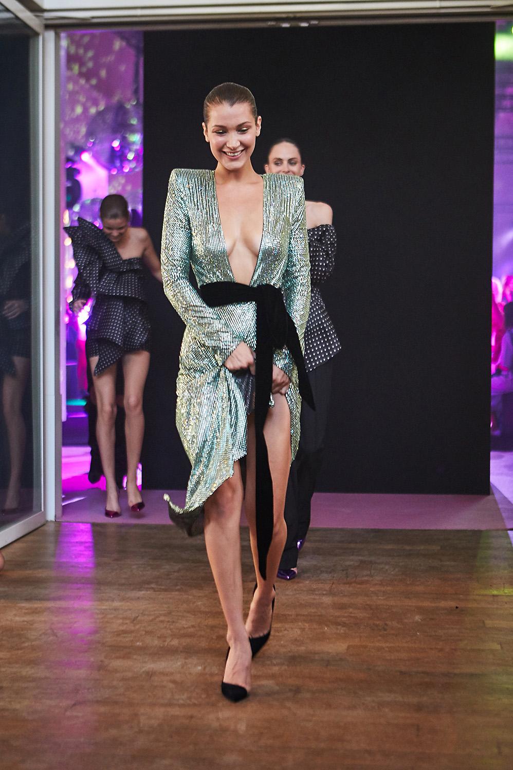 Bella Hadid for Alexandre Vauthier backstage Haute Couture Paris